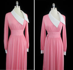 Vintage 70's Estevez Eva Gabor Pink Maxi Cocktail Dress Evening Gown L - Bombshell Bettys Vintage