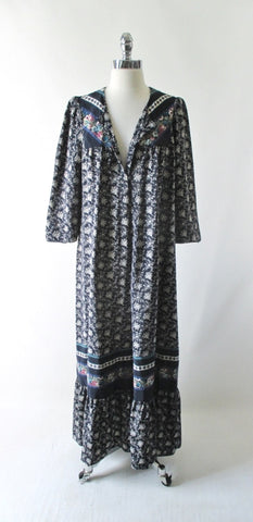 Vintage 70's Hawaiian Kaftan Rayon Tunic Dress