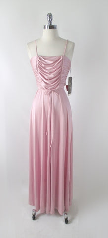 Vintage 70s Joy Stevens Rose Pink Party Dress XS