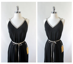 Vintage 70's Black & Tan Backless Dress New / Old Stock M - Bombshell Bettys Vintage