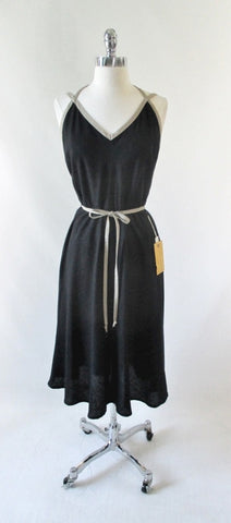 Vintage 70's Black & Tan Backless Dress New / Old Stock M