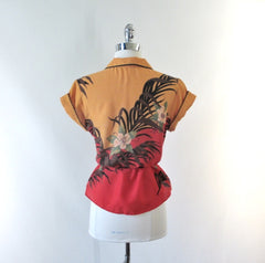 Vintage 70's Tropical Print Belted Top M