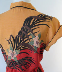 vintage 70's tropical disco top blouse shirt tie belted waist bombshell bettys vintage shoulder