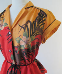 Vintage 70's Tropical Print Belted Top M - Bombshell Bettys Vintage