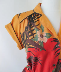 vintage 70's tropical disco top blouse shirt tie belted waist bombshell bettys vintage sleeve