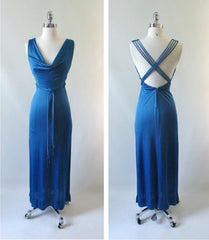 Vintage 70's Eletric Blue Goddess Party Gown XS • As Found - Bombshell Bettys Vintage