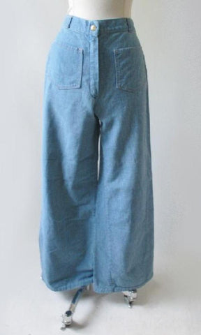 Vintage 70's Wide Leg Bell Bottom Sailor Style Blue Denim Jeans Pants M
