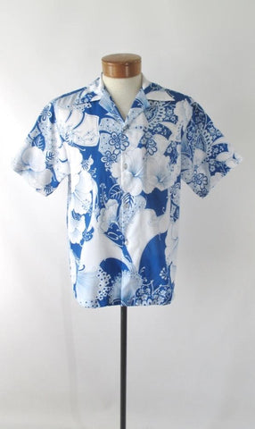 Mens Vintage 70s Blue White Hawaiian Shirt L