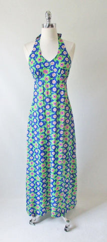 Vintage 70's Hawaiian Pop Art Flower Maxi Dress M