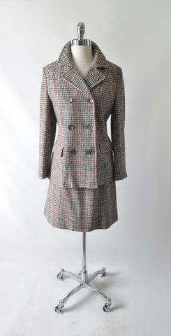 Vintage 70s Seaton Hall Houndstooth Plaid Stripe 3 Piece Suit M