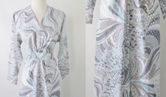 Vintage 70's Icy Blue & Silver Swirl Maxi Dress Gown XL - 1X - Bombshell Bettys Vintage