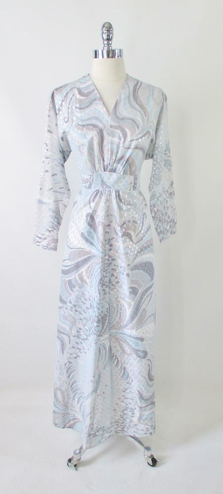vintage 70's blue silver empire maxi dress gown Xl plus bombshell bettys vintage