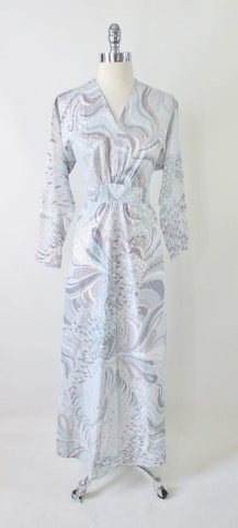 Vintage 70's Icy Blue & Silver Swirl Maxi Dress Gown XL - 1X