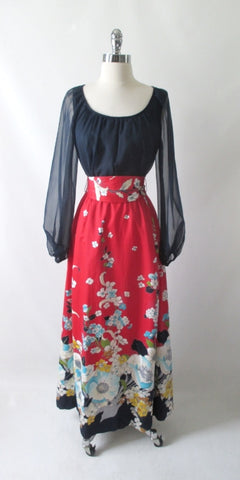 Vintage 70s Blue Chiffon & Floral Red Maxi Dress M