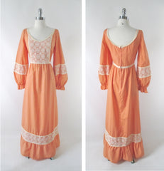 Vintage 70s Victorian Revival Peach Lace Prairie Dress XL - Bombshell Bettys Vintage