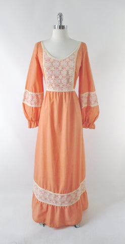 Vintage 70s Victorian Revival Peach Lace Prairie Dress XL
