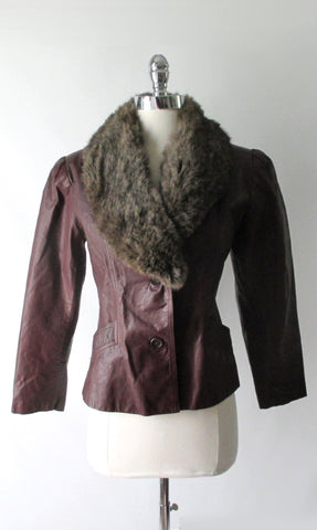 Vintage 70's Red Oxblood Fur Collar Leather Jacket M