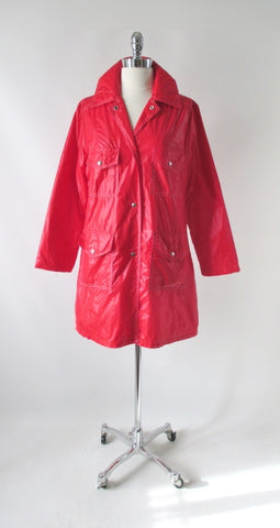 Vintage 70s Pearlized Red MOD Raincoat / Windbreaker Jacket M