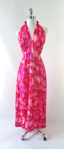 Vintage 70's Pink Hibiscus Hawaiian Halter Dress XS