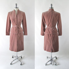 vintage lilli ann 1970's velour velvet suit matching belt skirt set bombshell bettys vintage full