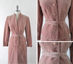 vintage lilli ann 1970's velour velvet suit matching belt skirt set bombshell bettys vintage jacket