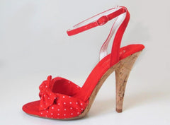 Vintage 70's Polka Dot Bow High Cork Heel Disco Shoes 8 M - Bombshell Bettys Vintage