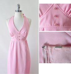 vintage70's soft pink halter maxi dress gown rhinestone buttons bombshell bettys vintage bodice