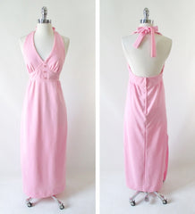 vintage70's soft pink halter maxi dress gown rhinestone buttons bombshell bettys vintage full