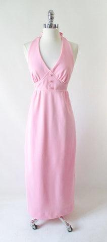 Vintage 70's Soft Pink Halter Dress Rhinestone Button Maxi Gown S
