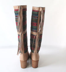 Vintage 70's Southwestern Fringe Leather Campus Boots 9 M - Bombshell Bettys Vintage