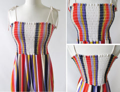 Vintage 70s Striped Terry Cloth Jumpsuit M - Bombshell Bettys Vintage
