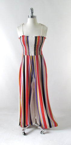 Vintage 70s Striped Terry Cloth Jumpsuit M