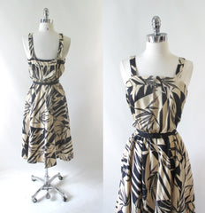 Vintage 70's Bamboo Print Summer Sundress Dress - Bombshell Bettys Vintage