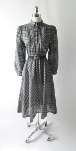 Vintage 70s Preppy Tartan Plaid Full Skirt Day Dress S