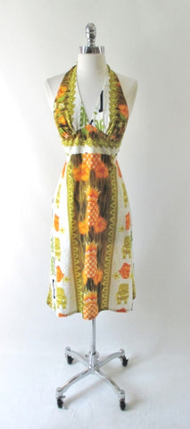 Vintage 70's Hawaiian Tiki Halter Dress S