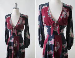 Vintage 70's Floral Rayon Day Dress S - Bombshell Bettys Vintage