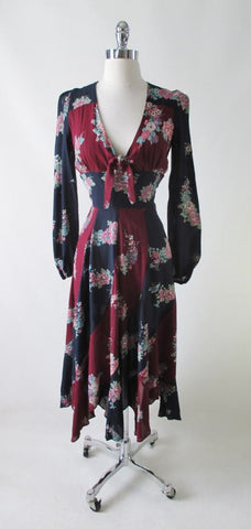 Vintage 70's Floral Rayon Day Dress S