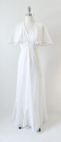 Vintage 70's Sheer White Eyelet Flutter Sleeve Hippie Wedding Dress Gown