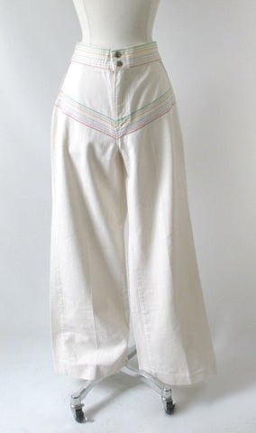 Vintage 70's White Lee Wide Leg Rainbow Pants M