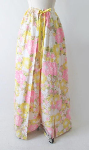 Vintage 70's Pink Yellow White Wrap Around Palazzo Pants L  / XL
