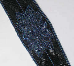 Vintage Black Blue Beaded Fabric Belt - Bombshell Bettys Vintage