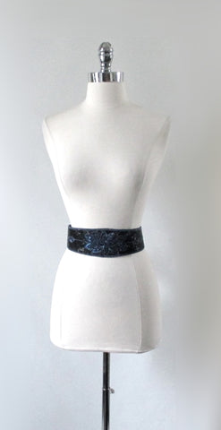 Vintage Black Blue Beaded Fabric Belt