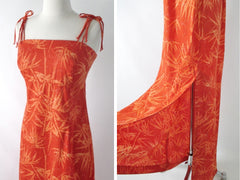 Vintage 70s Tropical Bamboo Orange Maxi Dress S - Bombshell Bettys Vintage