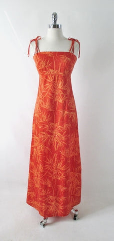 Vintage 70s Tropical Bamboo Orange Maxi Dress S