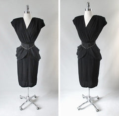 vintage 80's 40's style black peplum wide shoulders rhinestone cocktail party evening dress bombshell bettys vintage