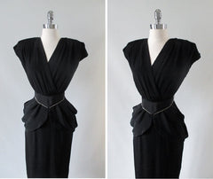 Vintage 80's Goes 40's Black Peplum Dress & Matching Rhinestone Belt XS - Bombshell Bettys Vintage