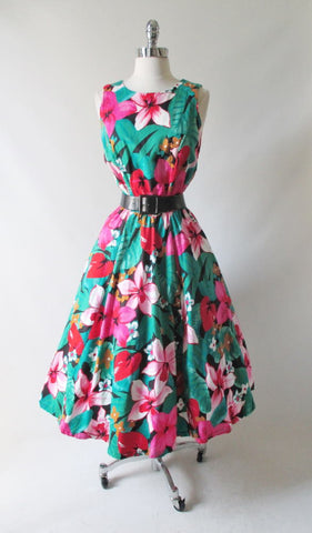 Vintage 80's / 50's Inspired Tropical Flowers Full Skirt Day Dress