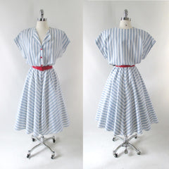 vintage 80's 50's style full skirt blue white stripe dress matching red belt buttons bombshell bettys vintage full