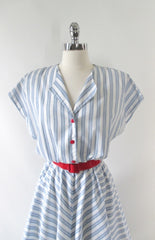 Vintage 80's White & Blue Chambray Stripe Full Skirt Day Dress L - Bombshell Bettys Vintage