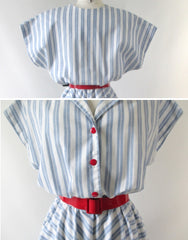 vintage 80's 50's style full skirt blue white stripe dress matching red belt buttons bombshell bettys vintage buttons